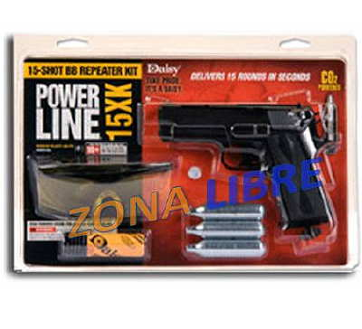 KIT PISTOLA CO2 MARCA DAISY POWERLINE R15XK